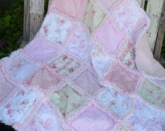 Baby Rag Quilt Baby Girl Rag Quilt Baby Girl Shabby Crib Quilt Shabby Chic Sweet Cottage Roses Pale Pink White Rose Minky Ready to Ship