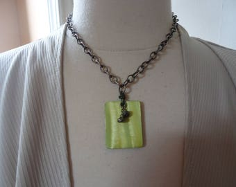 """SILPADA Retired Green MOP and Pyrite Pendant on 18"""" Oxidized Textured Wide Link Sterling Cable Chain, Catalog N1133"""