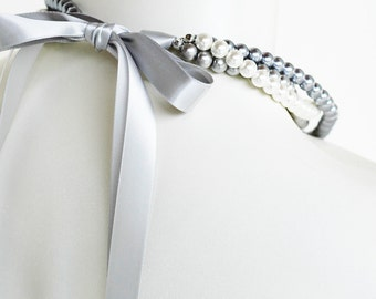 Samantha - Perfect Bridesmaid Necklace-White, Silver & Pewter, Triple Strand Pearl Necklace w/Ribbon Tie WEDDING JEWELRY Maid of HONOR