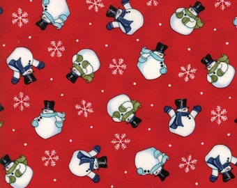 20 % off thru 5/31 SNOW MUCH FUN tossed snowmen on red cotton print by the 1/2 yard Moda fabric Christmas 19803-14 Deb Strain