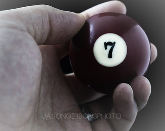 Hand Photography, Abstract Photography, Surreal Photography, Pool Ball Photography, Lucky 7, Wall Art, Home Decor, Photography, Gift