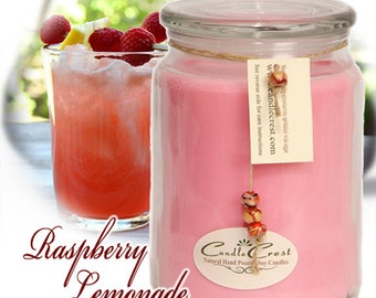 Raspberry Lemonade Soy Candles, Scented Candles, Hand Poured Soy Candles, Natural Wax Candles