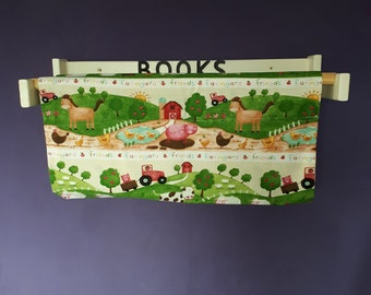 Wood and fabric book rack