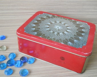 Vintage Tin Box with Cover. Tin Container. Red Metal Box. Soviet Tin Box. Storage Box. Old Box. Metal Container. Vintage Gift