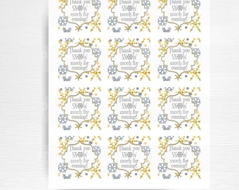 Thanks SNOW Much For Coming Party Favor Tag Winter Wonderland Birthday Favor YOU print Silver and Gold