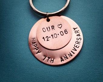 7th Wedding Anniversary Gift - Copper Gift - Custom Hand Stamped Keychain - Anniversary Gift - Key Chain - Copper - Engraved - Custom Gift
