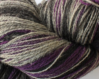 KAUNI Estonian Artistic Yarn Black Lila 8/2, Art Wool Yarn for Knitting, Crochet