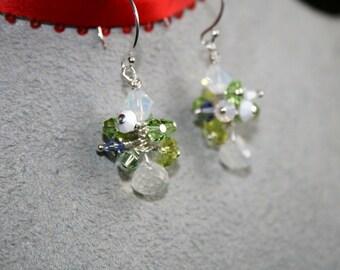 CROCUS Rainbow Moonstone, Swarovski Crystal and Sterling Earrings