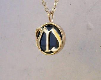 mothers necklace, monogram jewelry, letter necklace, gold letter necklace, gemstone necklace, personalized jewelry, custom monogram