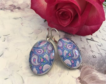 Cashmere Blue rose Stud Earrings