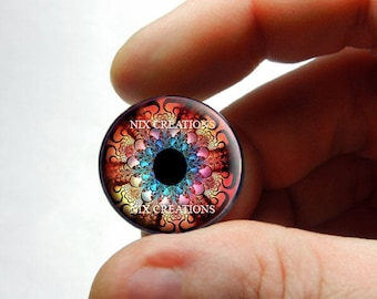 Glass Eyes - Kaleidoscope Eye Human Doll Taxidermy Eyes Handmade Glass Cabochons Design 5 - Pair or Single - You Choose Size