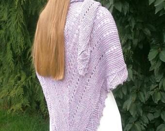 Luxueuse, drapée tricoté à la main améthyste châle de laine ruban