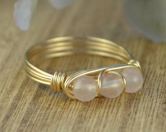 Rose Quartz Three Stone Ring-Yellow or Rose Gold Filled or Sterling Silver Wire Wrapped with Three Gemstones-Size 4 5 6 7 8 9 10 11 12 13 14