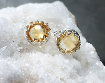 Citrine Studs, Citrine Earrings, Good Luck, Prosperity, Exquisite Cut, Gemstone Studs, Crystal Studs, Sterling Silver, Good Fortune