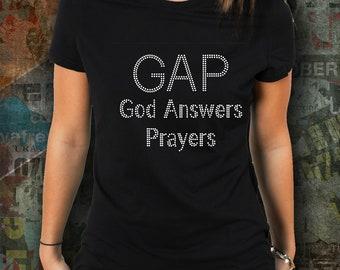 GAP God Answers Prayers Religious Rhinestone