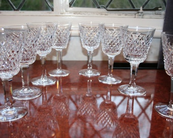 "8 Waterford Crystal ""Alana"" Red Wine/Claret Glasses Brand New and Unused All Signed 5.7/8"" tall"
