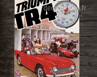 Metal plate deco Trimph TR4 British Car convertible/roadster