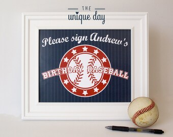 Baseball Party Sign -  Welcome Sign - Printable Baseball Birthday Party - Custom - Personalized // BAS-04