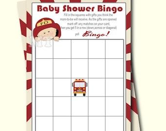 Firefighter Bingo Game- Printable Baby Shower Bingo Card Game- Baby Shower Activity- Instant Download Babyshower Games
