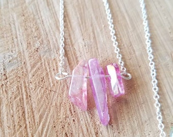 Pink Crystal Bar Necklace, Pink Crystal Point Necklace, Silver Crystal Point Necklace, Healing Aura Point Necklace, Boho Aura Necklace