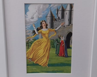 Genuine framed 70's children's print of Sleeping Beauty from the classic Ladybird story books. Carefree sleeping beauty playing.