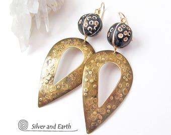SALE: Tribal Spear Earrings, African Earrings, Big Bold Brass Earrings, Large Dangle Earrings, Metalwork, Exotic African Jewelry on Sale