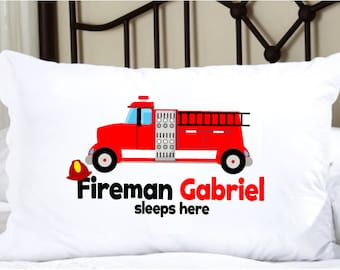 Personalized Pillow Case with Firetruck