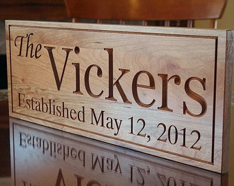 Wedding Established Sign, Wedding Gift For Parents, Housewarming Gift, Personalized Last Name Sign, Benchmark Custom Signs, Cherry VV