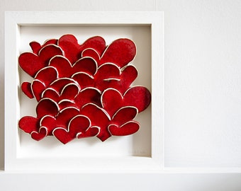 Love Hearts, modern ceramic wall art. Wedding gift, engagement gift, wedding anniversary gift. Red and white wall hanging.