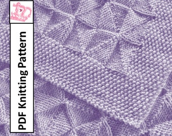 Baby Blanket Knitting Pattern, PDF Knitting Pattern - Windmills and Pinwheels reversible Baby Blanket/throw/afghan 26 x 36