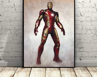 Iron man,Marvel Movie Poster,Avengers,Watercolor,Home Decor,Superhero,Comics,Captain America,Marvel Comic Posters,Digital File,Wall Art