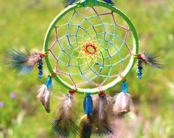 colorful hand made cruelty free dreamcatcher