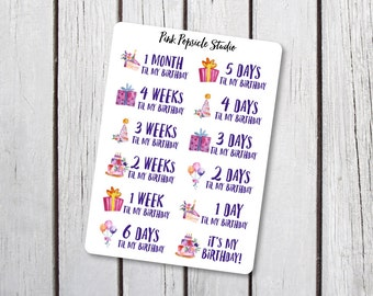 Birthday Countdown Planner Stickers Designed For Erin Condren Life Planner Vertical