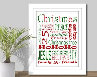 Christmas Subway Art - 3 Sizes, 5x7, 8x10, 11x14 (PDF & JPEG), Printable Digital Download, Word Art, Christmas Printable, Holiday decoration
