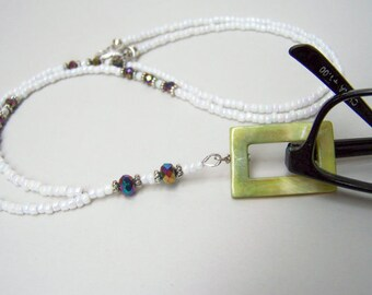 Lanyard, Eyeglass Holder, Eyeglass Necklace, Lanyard Eyeglass Chain, Mother of Pearl Ring, CLEARANCE, Eyeglasses Ring