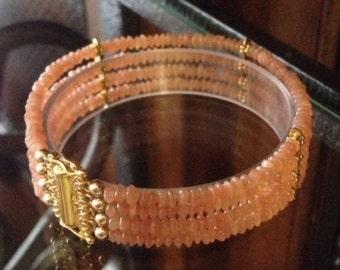 GENUINE Peach Moonstone Bracelet 4 Strand Bracelet 18kt Gold Vermeil or Sterling Silver Trending Jewelry and Gemstones Gifts