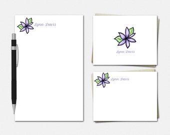 Purple Lotus Stationery Set - Personalised Stationary - Personalized Notepad - Personalized Note Cards - Floral Stationery for Her