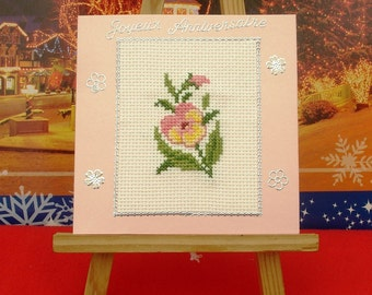 Happy birthday hand embroidered Pansy
