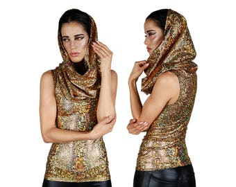 Oversized Hood Top; Gold, Burning Man Clothing, Holographic Clothing, Dancewear, Stage Wear, EDM Rave Wear, Wasteland Costume, LENA QUIST