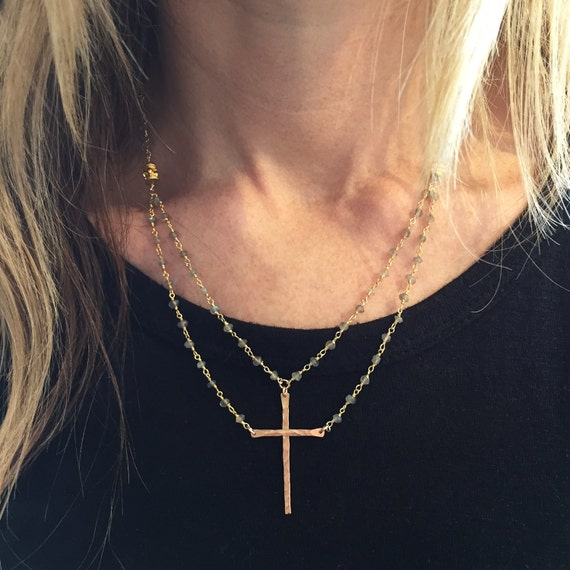 """""""Be Still""""™ Cross Necklace in Gold Vermeil and labradorite"""
