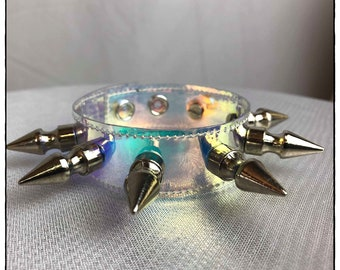 Holographic Wrist Cuff with Large Spikes - Ready to Ship - Festival AB Rave Pastel Goth Hardware Cyber