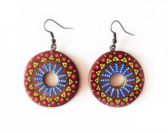 Brown and blue hand painted bamboo round Stud Earrings