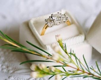 Velvet Ring Box in Ivory , Gifts for Bridesmaids, Gifts for the Bride to Be or Wedding Gift