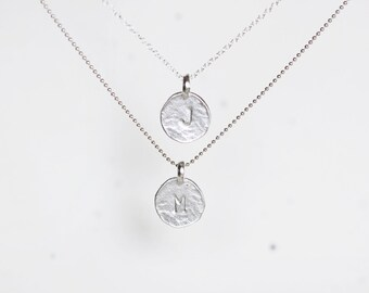 Multi Strand Initial Necklace - personalized monogram sterling silver charms layered necklace