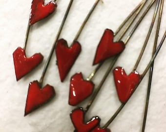 Hand Enameled Heart Headpins 2""