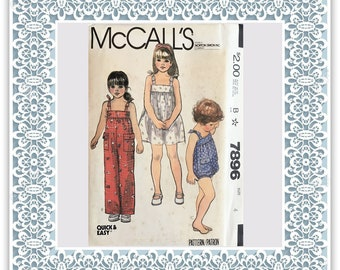 McCall's 7896 (1982) Toddlers' and children's dress, jumpsuit, and romper - Vintage Uncut Sewing Pattern