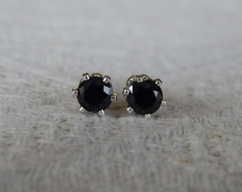 Spinel 4mm Studs, Black Spinel Stud Earrings, Spinel Posts, Black Stud Earrings, Black Spinel Earrings, Black Spinel, Black Jewelry, Spinel