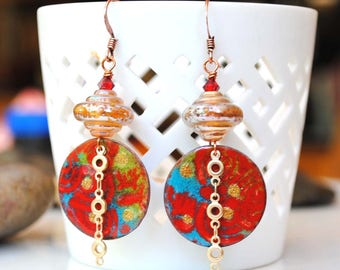Artisan Enamel Earrings, Red Earrings, Gold Earrings, Lampwork Earrings, Boho, Unique Earrings, Enameled Copper Earrings, Abstract