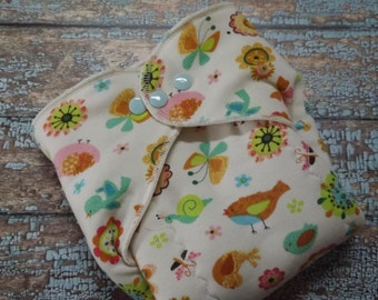 Organic Cotton Winged Prefold Cloth Diaper  Birds and Butterflies Sized