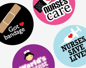 Nifty Nurses - 1.313 Inch (33mm)Digital Collage Printable Sheet For Badges and Buttons -Instant Download -Buy 2 Get 1 Free -Digital Download
